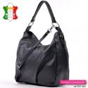Czarna torba damska skórzana z jednakowym przodem i tyłem bez zewnętrznych kieszeni