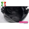 Mieszcząca A4 czarna torba damska zamykana suwakiem