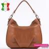 Włoska pojemna torba skórzana - brąz koniakowy