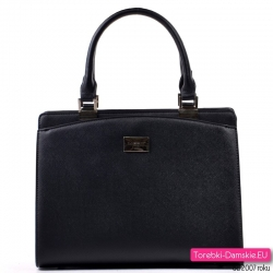 Lekki elegancki czarny kuferek - modna torebka z nowej kolekcji
