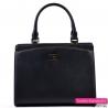 Czarny kuferek średniej wielkości - markowa torebka z ekoskóry saffiano