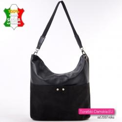 Duża czarna skórzana włoska torba A4 z zamszowymi kieszeniami