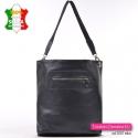 Pojemna, lekka, skórzana miejska torba damska w kolorze czarnym A4