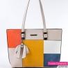 Beżowa duża torba na ramię z białym, niebieskim, żółtym i pomarańczowym elementem