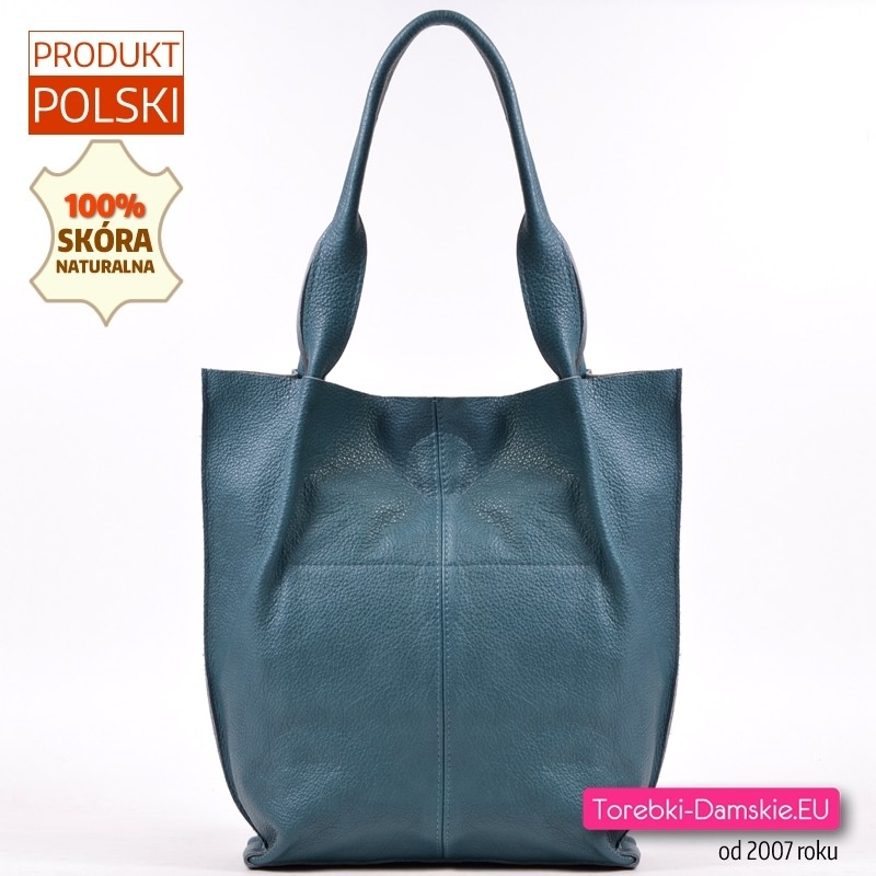 Zielona skórzana torba shopper na ramię w odcieniu morskim