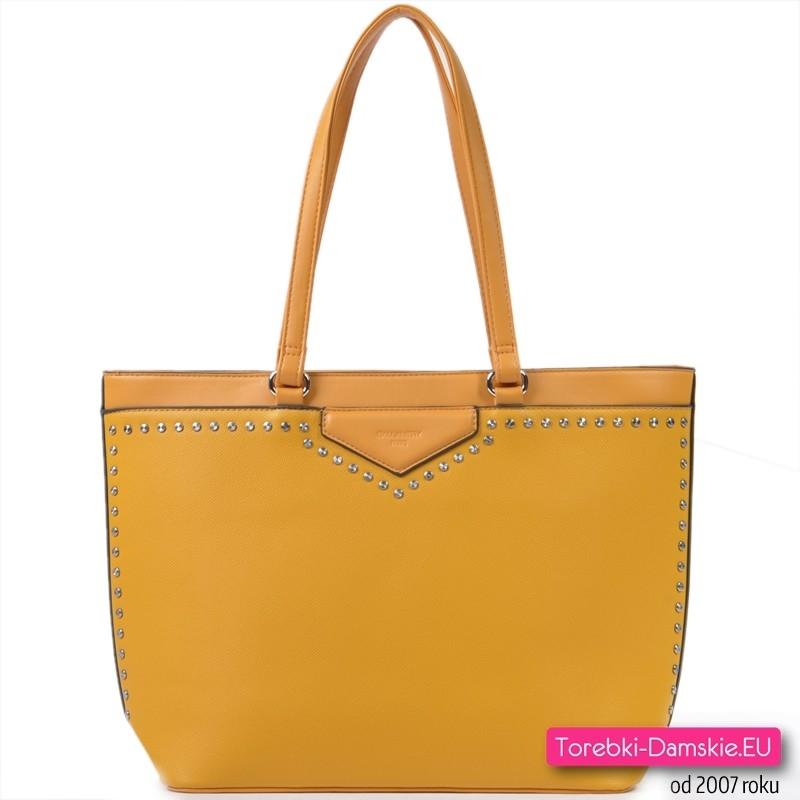 Duża żółta torba damska na ramię w promocji - wyprzedaż modelu wiosna / lato 2020