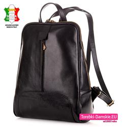 Włoski damski plecak z czarnej grubej licowej skóry cielęcej