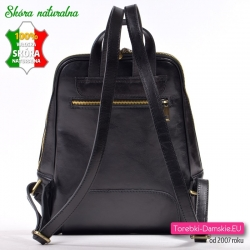 Skórzany czarny elegancki miejski plecak damski