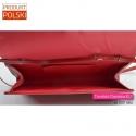 Torebka wizytowa produkcji polskiej kolor czerwony kieszeń wewnątrz