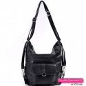 Czarna torba miejska i plecak damski w jednym
