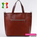 Skórzana brązowa torba z kieszenią z tyłu - włoski shopperbag