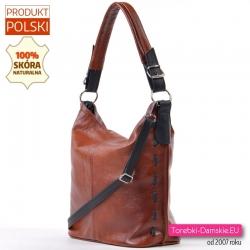 Pojemna funkcjonalna torba z groszkowanej brązowej prawdziwej skóry