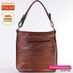 Brązowa pojemna duża torba ze skóry naturalnej z kieszenią z tyłu