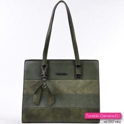 Zielona torba na ramię w ciemnym pięknym odcieniu