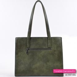 Efektowna zielona torba damska w ciemnym odcieniu