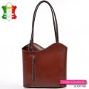 Włoska brązowa torebka skórzana i plecak w jednym