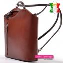 Brązowy skórzany plecak damski i torebka w jednym