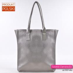 Prostokątna duża miejska torba damska w kolorze srebrnym