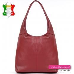 Skórzana czerwona torebka na ramię