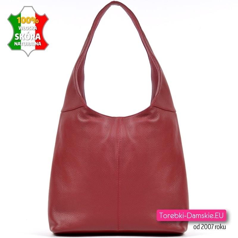 Włoska czerwona skórzana torba na ramię