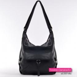 Tani czarny torbo-plecak damski