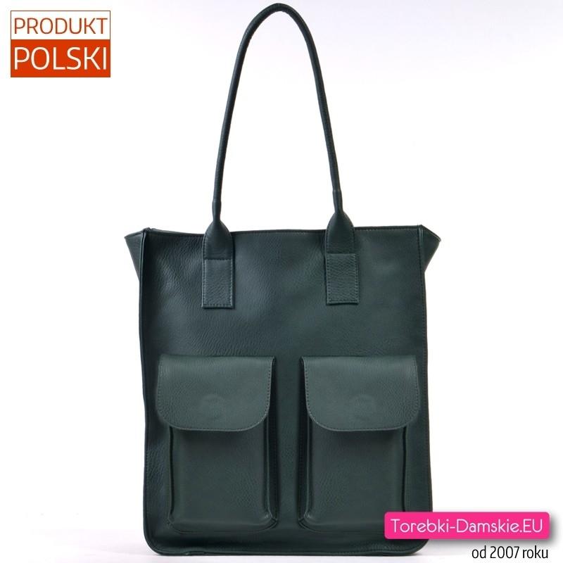 Zielona duża torba damska shopper na ramię