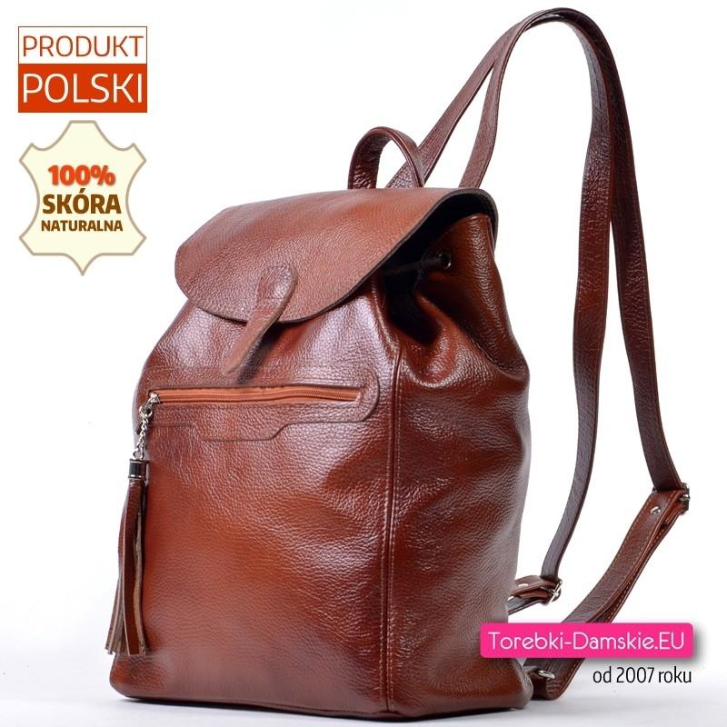 Damski duży skórzany plecak produkcji polskiej