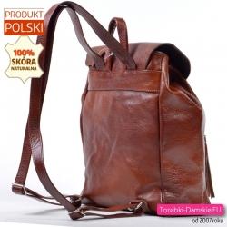 Duży klasyczny plecak damski z brązowej prawdziwej skóry