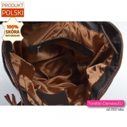 Duży brązowy skórzany plecak A4