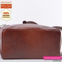 Plecak skórzany z płaskim sztywnym spodem - mieści A4