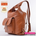 Skórzany plecak i torba damska w jednym jasny odcień brązu karmelowego