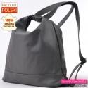 Damski torbo - plecak z szarej skóry naturalnej