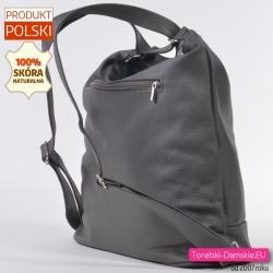 Polski plecak damski ze skóry w kolorze szarym