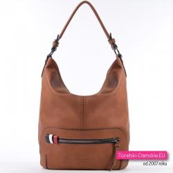 Brązowa duża torba damska z kieszenią z przodu