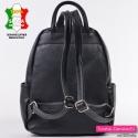 Włoski damski czarny skórzany plecak
