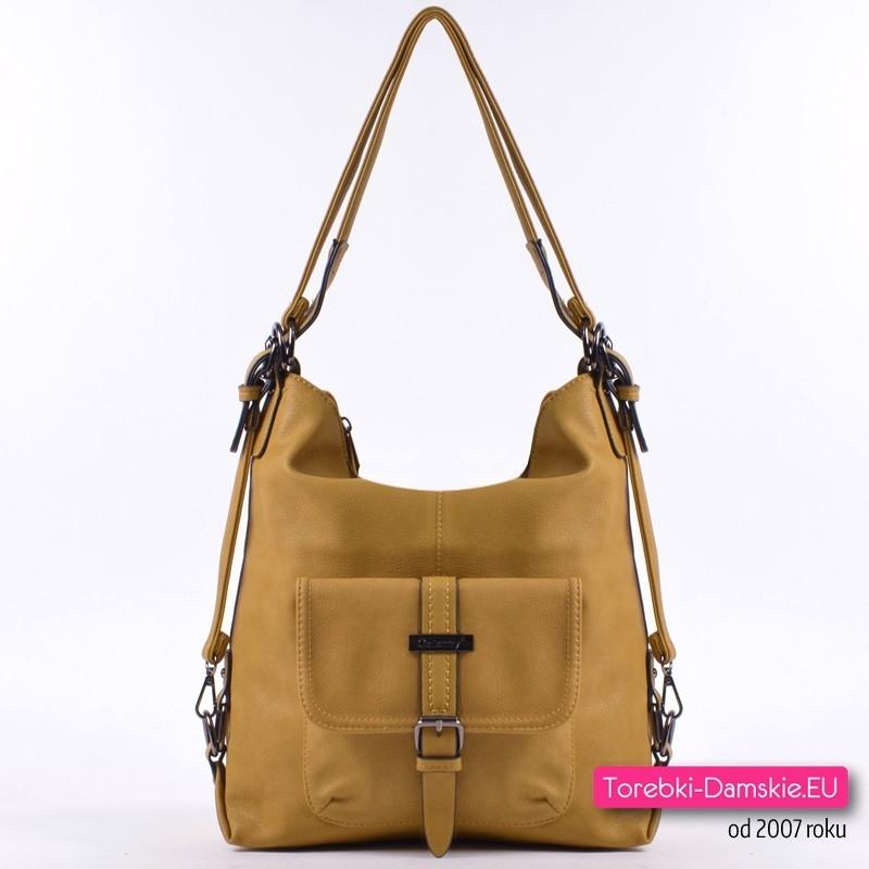 Musztardowa torba damska na ramię i plecak