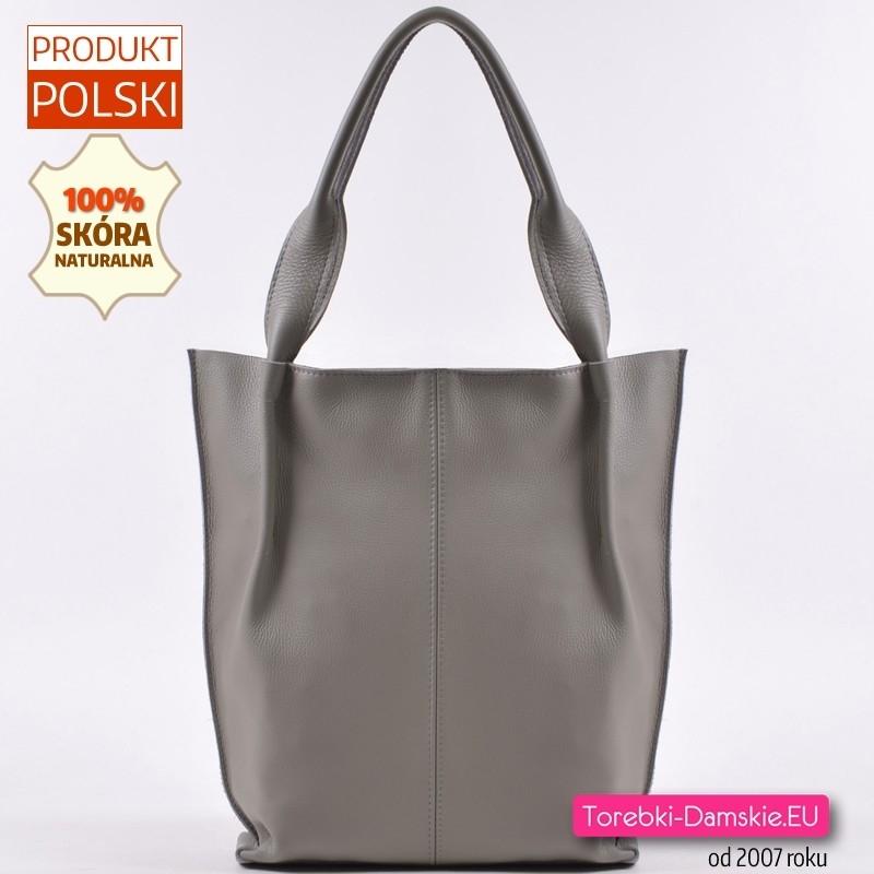 Polska skórzana szara torba shopper na ramię
