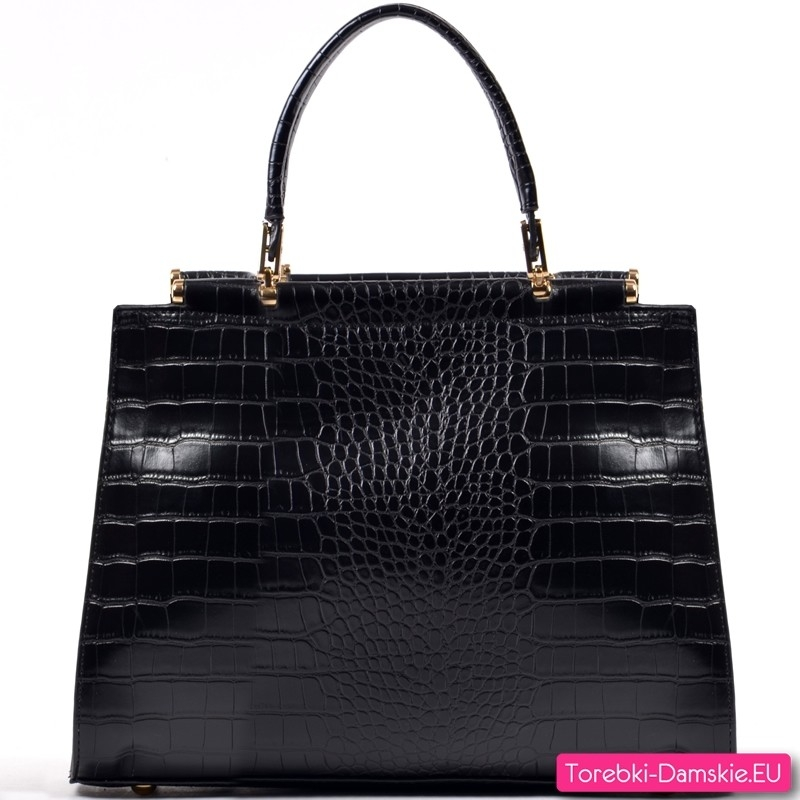 Klasyczny czarny kuferek - torebka damska z krokodylej skóry (imitacja)