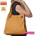 Skórzana pojemna torba damska na ramię w modnym odcieniu żółtego