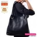 Skórzana polska czarna torba z podwójnymi paskami