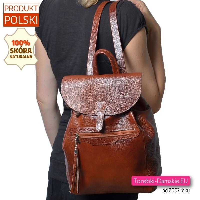Pojemny mieszczący A4 skórzany brązowy plecak damski