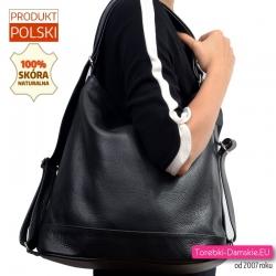 Duża pojemna skórzana czarna torba na ramię