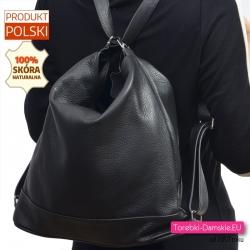 Duży czarny skórzany plecak damski i torba w jednym