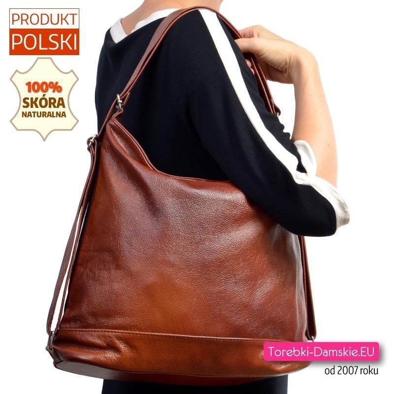 Skórzana brązowa torba na ramię i plecak damski w jednym
