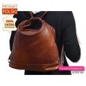 Plecak damski i torba w jednym - skóra w kolorze brązowym