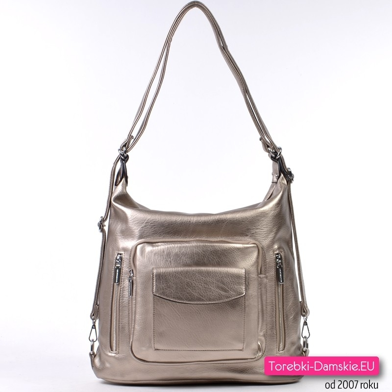 Metalizowana platynowa pojemna torba damska