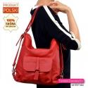 Czerwona skórzana torebka damska na ramię
