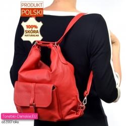 Plecak damski z czerwonej prawdziwej skóry