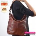 Polska tania brązowa skórzana torba damska średniej wielkości