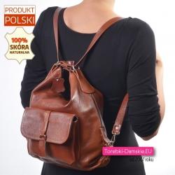 Plecak skórzany damski w kolorze brązowym
